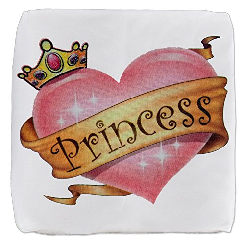 (13 Inch 6-Sided Cube Ottoman Princess Crowned Pink Heart)