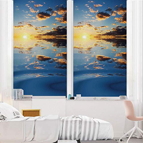 Mystic House Decor 3D No Glue Static Decorative Privacy Window Films, Last Sunbeams of The Day Scenery Romantic Dreamy Tropical Vacation,17.7