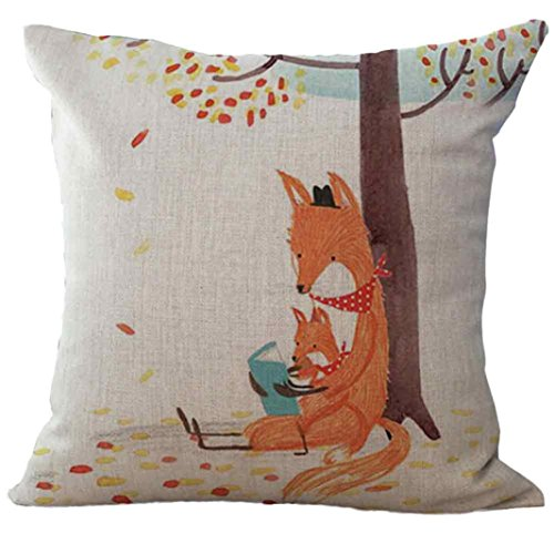 GBSELL Pillow Cover Fox Pillow Case Sofa Throw Cushion Cover Home Party Decor,45cm45cm (C)