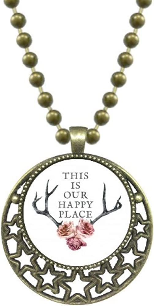 OFFbb-USA Local Happy Antler Flowers Pendant Star Necklace Moon Chain Jewelry