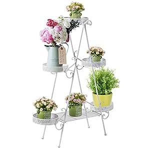 3Tier lindo–Soporte en metal blanco espirales maceta soporte rack con 5cesta redonda de plantas