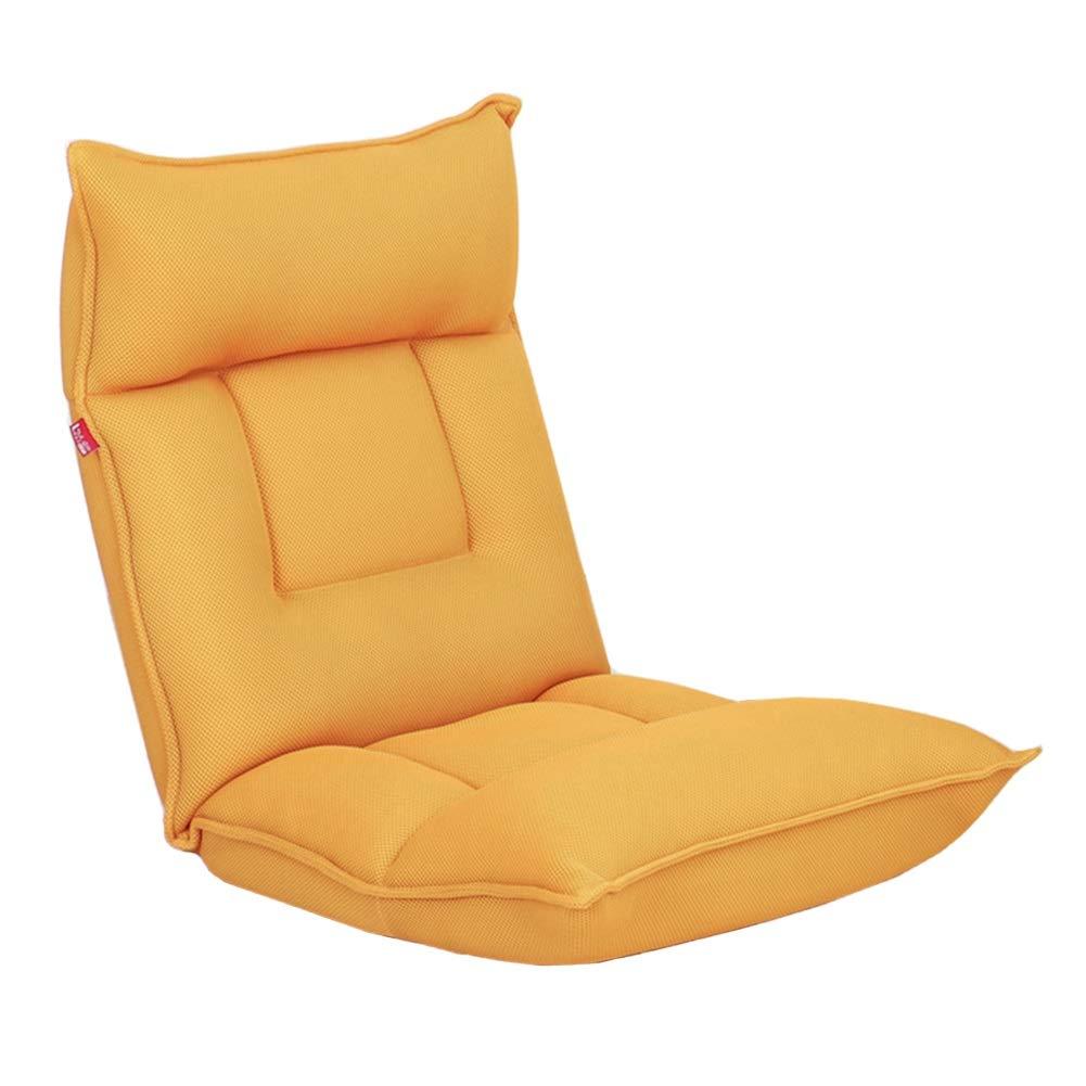 Bodenstuhl, Faltendes faules Sofa-justierbarer Fußboden-Stuhl-einzelne Loungemcouch für Das Spielen von Spielen vom Fernsehen vom Lesen (Farbe   Gelb)