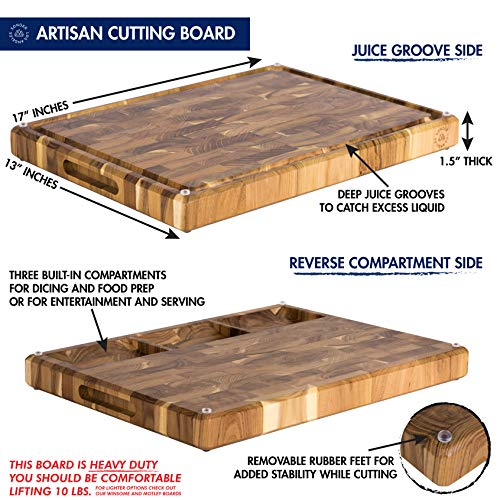 Large End Grain Teak Wood Cutting Board with Built-in Compartments, Non-slip: 17x13x1.5 with Juice Groove (Gift Box Included) by Sonder Los Angeles by Sonder Los Angeles (Image #4)