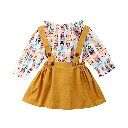 Newborn Baby Girls Family Matching Clothing Set Feather Printed Top+ Suspender Skirt Outfits (T-Shirt, 120(4-5T))