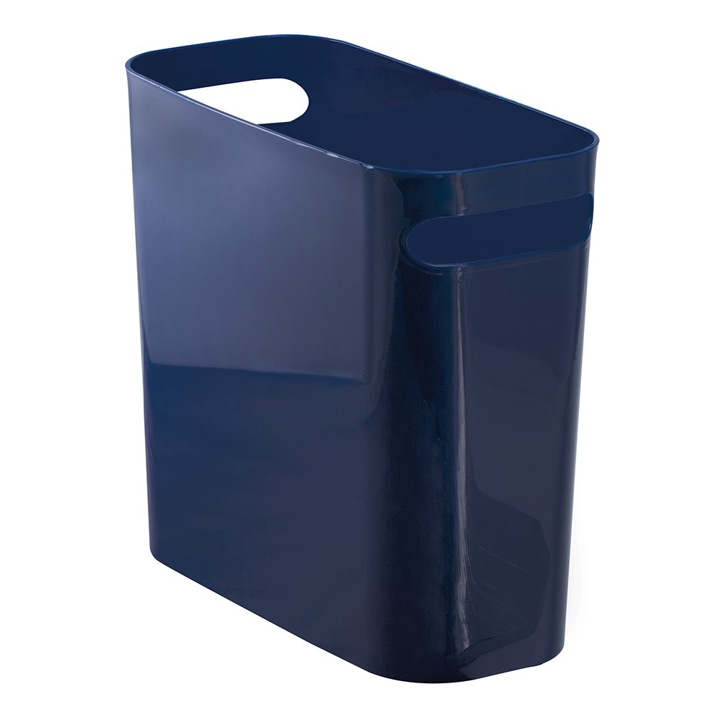 InterDesign Una Rectangular Trash Can with Handles, Waste Basket Garbage Can for Bathroom, Bedroom, Home Office, Dorm, College, 10-Inch, Navy Blue
