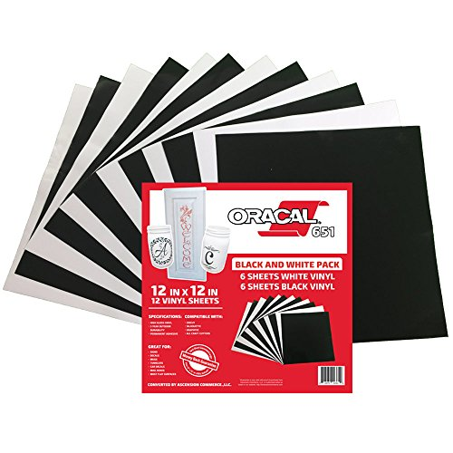 Oracal 651 Black and White Pack - Adhesive Craft Vinyl for Cricut, Silhouette, Cameo, Craft Cutters, Printers, and Decals - 12'' x 12'' - (12) Sheets - Gloss Finish - Outdoor and Permanent by ORACAL