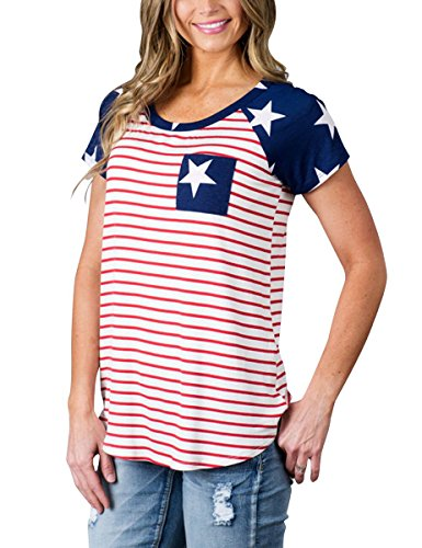 Baseball Sleeve Hem Short Tee (MEROKEETY Women's Floral Print Striped Tee Crew Neck Shirt Short Sleeve Tops with Pocket)