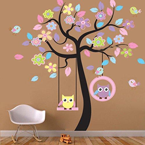Swing Aqua (Huge Cute Owls Bird Swing Flower Tree Wall Stickers Art Decal Kids Nursery Decor - Nursery Decor)