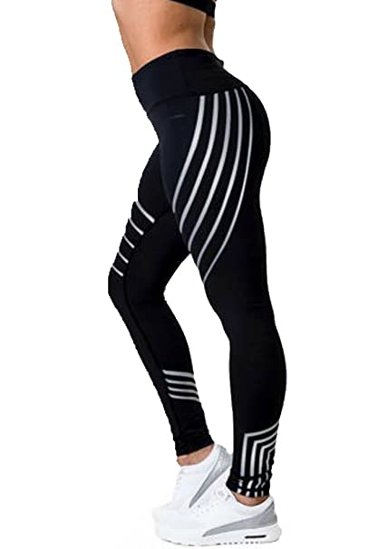 410c5e2d09e5fb Amazon.com : DODOING Women Slim Sport Yoga Leggings Reflective Striped  Fitness Pants Running Tights : Clothing