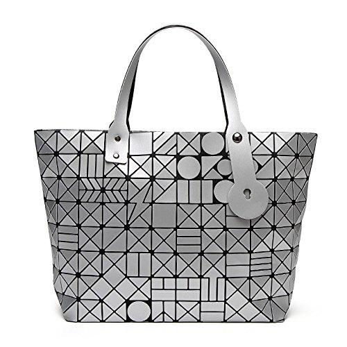 XZWSJB Borse Da Donna Borse Pieghevoli Borse Laser Geometriche Shopping Messenger Bag Silver