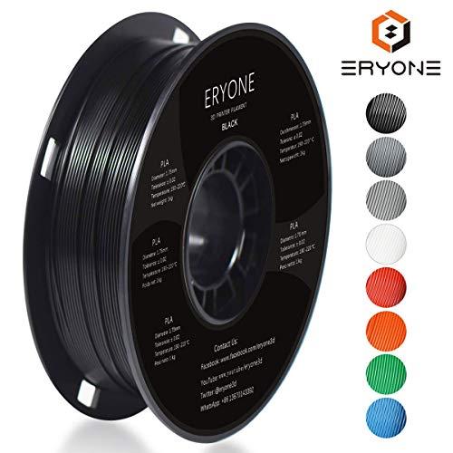 PLA Filament 1.75mm, ERYONE Filament PLA 1.75mm, 3D Printing Filament PLA for 3D Printer, 1kg 1 Spool, Black