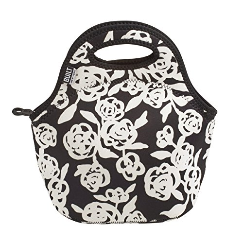 Built NY Gourmet Getaway Neoprene Lunch Tote, Garden Rose, Black/White