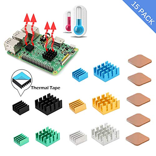 [Updated 8810 Thermal Tape]Raspberry Pi Heatsink, iUniker 15 Pcs Aluminum and Copper Heatsink Cooling Kit with Thermal Conductive Adhesive Tape for Raspberry Pi 3 B+, Raspberry Pi 3 B, Pi 2 B, Pi 1