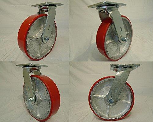 8'' X 2'' Swivel Casters Heavy Duty Polyurethane Wheel on Steel Hub 1400lb Each (4) Tool Box by Creative Industrial Sales