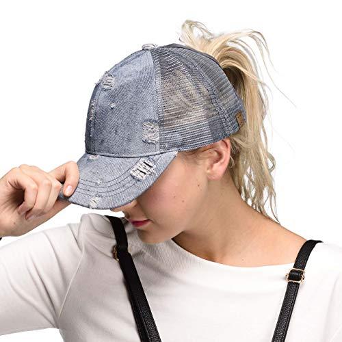 fb144a4e C.C Hatsandscarf Exclusives Messy Buns Damaged Denim Fabric Trucker Hat  with Ponytail Baseball Cap (BT