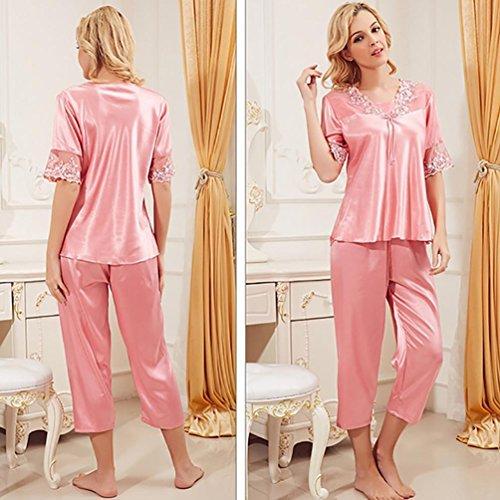 CHUNHUA nuevo traje de los pijamas de seda ligas del cordón de moda la imitación de seda pijamas de la princesa de las mujeres (color opcional) , champagne , l Red