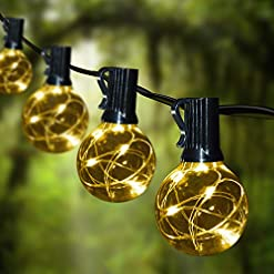 Garden and Outdoor Patio String Lights Led Waterproof – IELECMG 32.8FT 32 Bulbs(2 Spare) G40 Globe String Lights -Led String Lights Outdoor… outdoor lighting