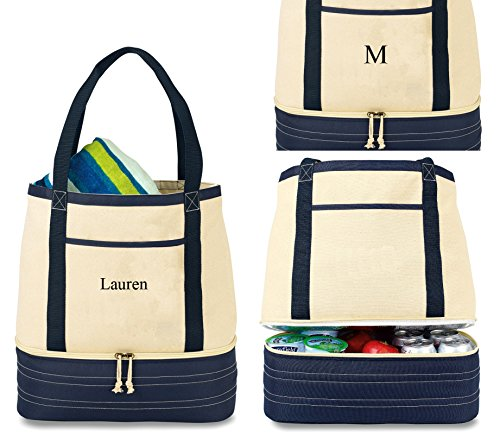 Encom Personalized 2 In1 Insulated Lunch Tote Bag for Women Zippered 2 Compartment Cotton Canvas Lunch Tote Cooler Bag