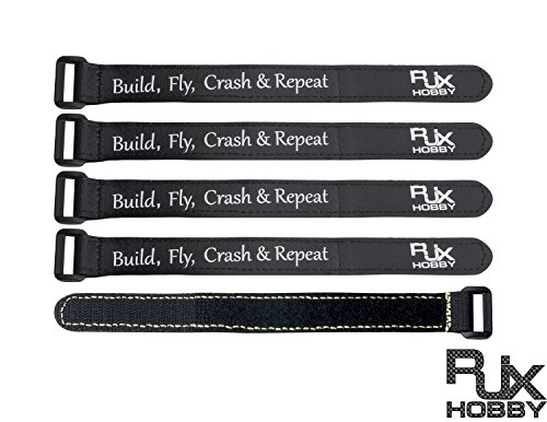 RJXHOBBY 5Pcs High Strength Non-Slip Magic Tape Battery Straps 250mmx20mm for RC Multirotor FPV Quadcopter Racing Drone Black