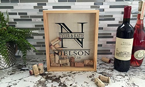 (Qualtry Personalized Wine Cork Shadow Box Display - Wall Mounted Monogram Wine Cork Holder for Wedding (11.25