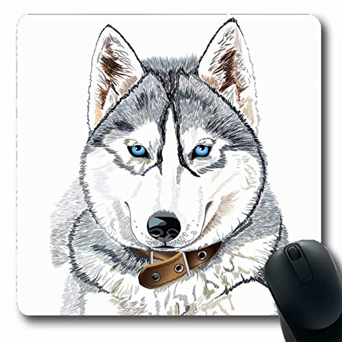 Ahawoso Mousepad for Computer Notebook Pet Blue Eyes Siberian Husky Head Gray Wolf Alaskan Arctic Design Looking Oblong Shape 7.9 x 9.5 Inches Non-Slip Gaming Mouse Pad