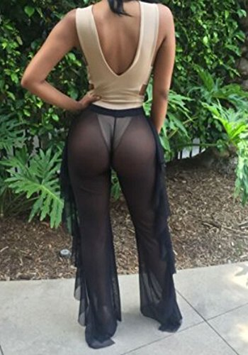 84c9eac07b Sexy High Waisted Sheer See-Through Fishtail Trouser Palazzo Cover-up Pant