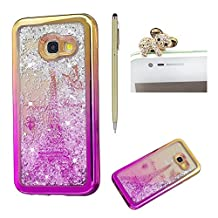 For Samsung Galaxy A5 2017 Liquid Case,For Samsung Galaxy A5 2017 Gradient Plating Frame Silicone,SKYXD Creative Colorful Glitter Flash Quicksand Soft Bumper Rubber Case Cover for Samsung Galaxy A5 2017+Stylus+Dust Plug,Gold Rose