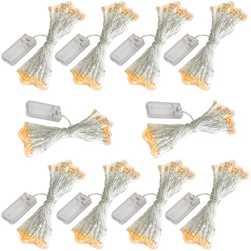 Accmor 10 Pack 10ft/3m 30 LEDs Mini Bulb Battery Operated Fairy String Lights, Super Bright Starry Lights for Christmas Tree, Wedding, Party, Bedroom, Home Decoration, Crafts (Warm White)