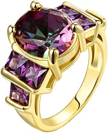 Swarovski Gemstone Emerald Cut Personalized Amethyst Fashion Rings for Women Size 8-10