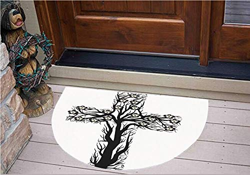 3D Semicircle Floor Stickers Personalized Floor Wall Sticker Decals,Tree Shape Christ Religion Prayer Blessed,Kitchen Bathroom Tile Sticker Living Room Bedroom Kids Room Decor Art Mural -