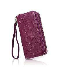 APHISON Women RFID Blocking Purse Zipper Leather Wallet Card Holder/Gift Box 8348 (PURPLE)