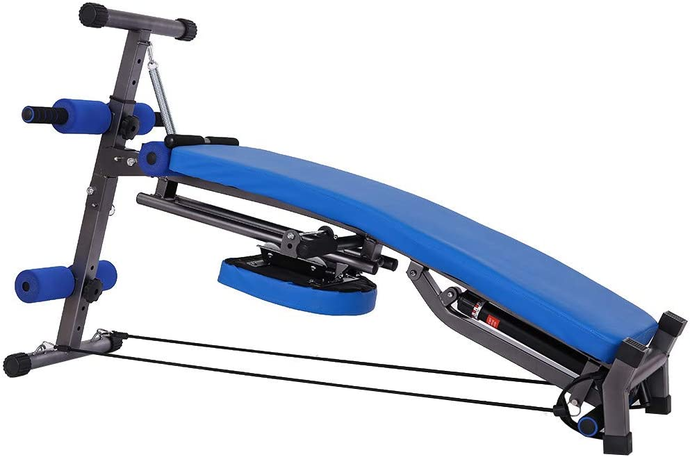 Foldable Incline Curved Bench 330 LB Weight Capacity for Home Gym Fitness Equipment Adjustable Weight Bench Blue Hydraulic Rowing Machine Foldable Supine Board Sit Up Bench