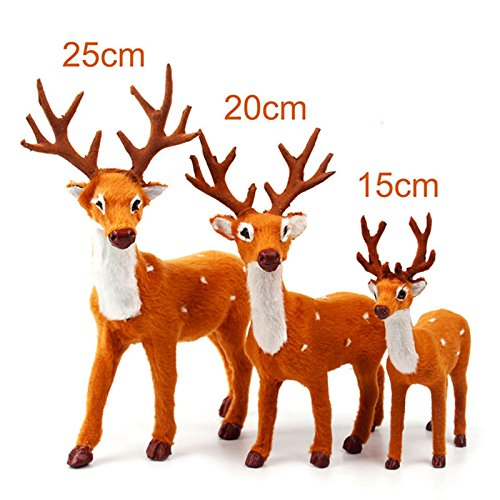 vLoveLife 3pcs Plush Christmas Reindeers Xmas Stand Ornament Sika Deer Elk Plush Simulation New Year Christmas Gift Toy Home Table Decorations 6'' 8'' 10'' (10' Reindeer)