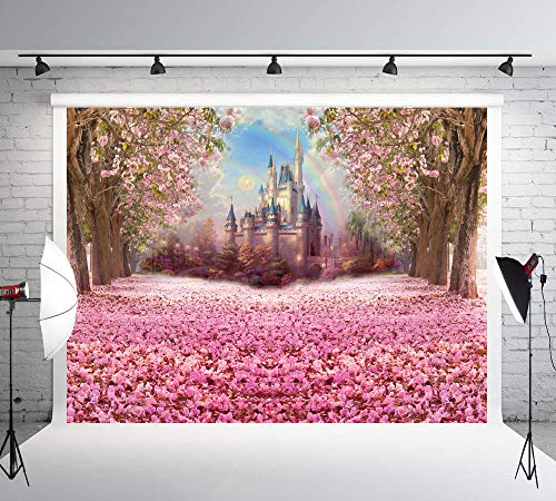 Muzi Photography Backdrop Fairy Tale Castle Beautiful Pink