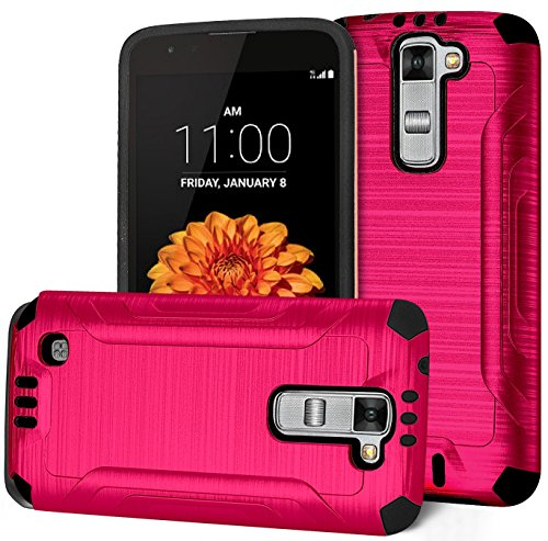 Lg Treasure Case  Phonelicious   New Gen Chrome  Slim Fit   Brushed Metal Texture   Heavy Duty  Ultimate Drop Protection Rugged Cover W  Screen Protector  Stylus  Pink Sci Chrome