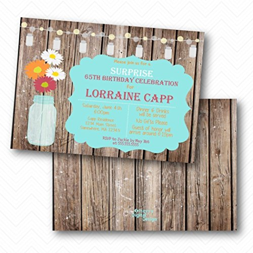 Surprise Birthday Party Invitations Rustic Mason Jar | Envelopes Included