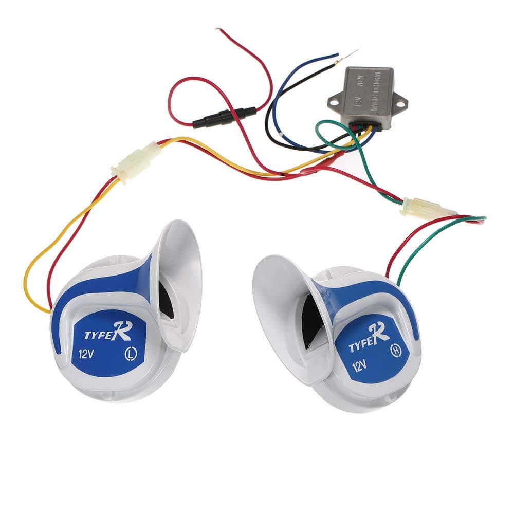 Docooler 2PCs 12V 120DB Digital Electric Loud Air Horn 20 Sounds Car Truck Motorcycle
