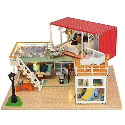 DIY Dollhouse Miniature Furniture Kit with LED Light Handmade Dollhouse For Gift (Villa with Outdoor Swimming Pool)