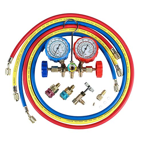 OrionMotorTech 5FT AC Gauge Set for R134A R12, R22, R502 Refrigerants, with Couplers and Can Tap