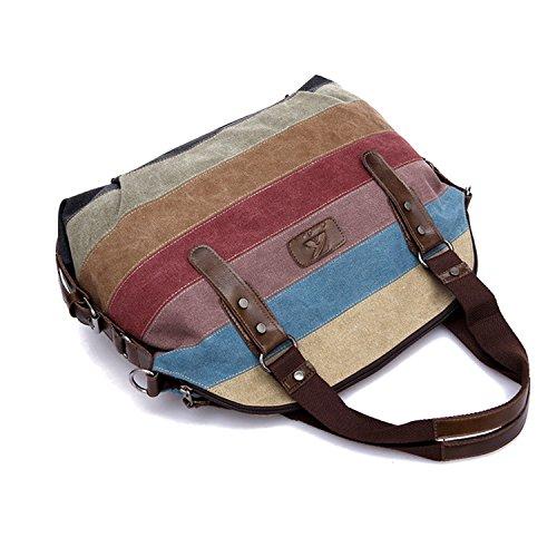Tela colorato a strisce grande capacità borsa Tote Borsa donna a tracolla per iPad cosmetics