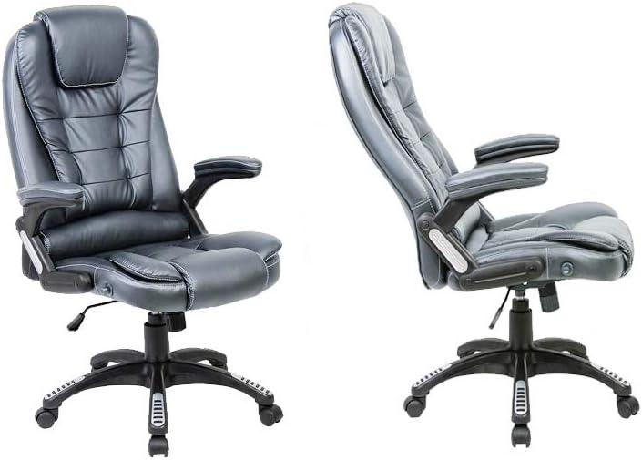 Neo/® Executive Sedia girevole da ufficio in finta pelle PU 86cm x 46cm x 46cm Grigio