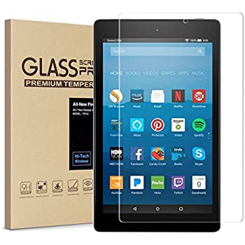 All-New Fire HD 8 Screen Protector,Tempered Glass Screen Protector Film for All-New Fire HD 8 Tablet with Alexa (7th 2017 Release) [9H Hardness] [Crystal Clear] [Bubble Free]