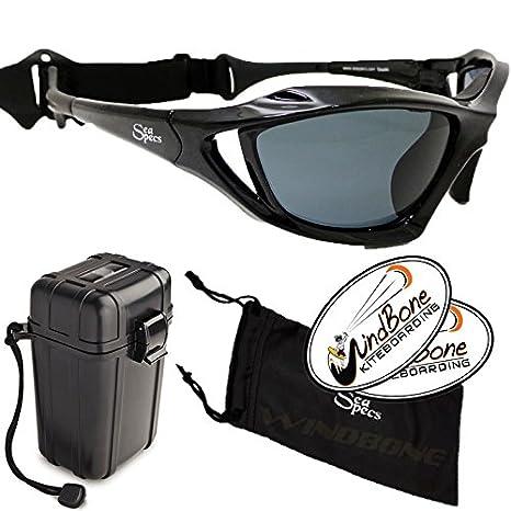 e0edb86038 SeaSpecs Stealth Black Extreme Action Water Sports Floating Polarized  Sunglasses w Hard Case Bundle (4