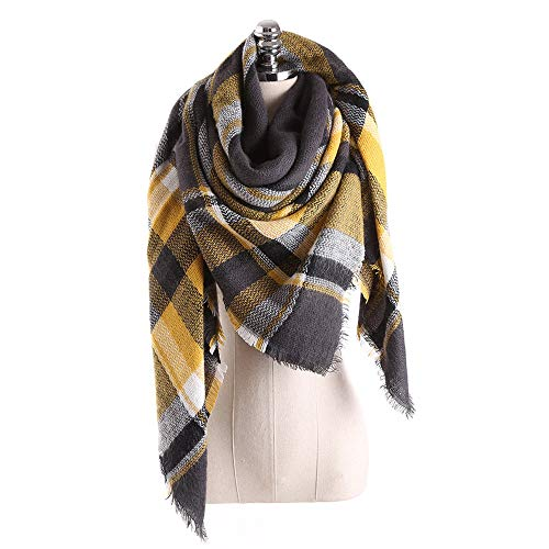 Gloves Nylon Striped (Women Plaid Scarf Colorful Stitch Long Cashmere Wool Neck Shawl Sunmoot)