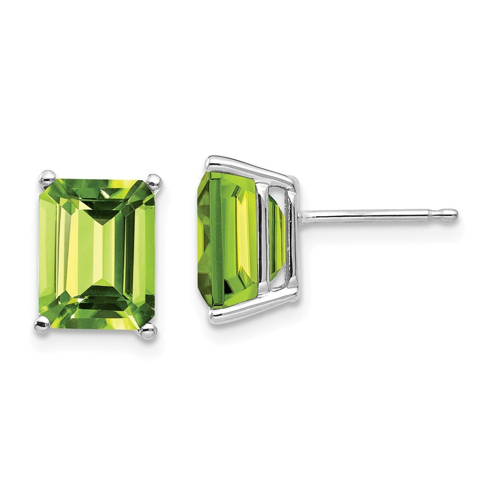 14k White Gold 9x7mm Green Peridot Post Stud Earrings Gemstone Fine Jewelry Gifts For Women For Her