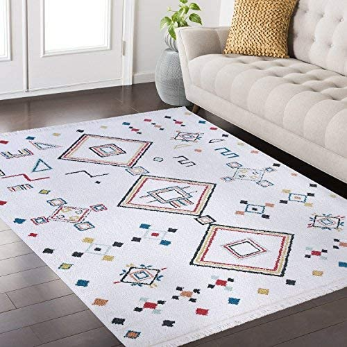 Mod-Arte Fez Collection Area Rug Moroccan Inspired Style White Multi 7 10 x 10 2