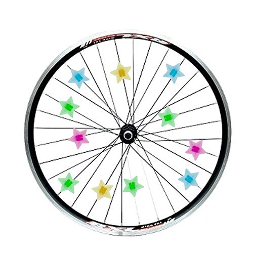 PAPKING Bike Beads 36 pcs 0.9 inch Plastic Cute Wheel Star Spoke Colorful Attractive Decoration Accessories, Presents Gifts for Children Boys Girls