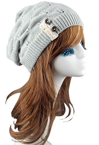 Mr.Seven Womens Chunky Warm Cable Knit Lace and Buttons Beanie Skully Cap (One Size, Grey)