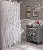 Ruffle Shower Curtain Cascade Shabby Chic Ruffled Sheer Shower Curtain (White)
