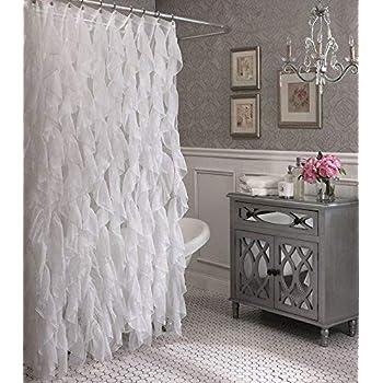 Cascade Shabby Chic Ruffled Sheer Shower Curtain White
